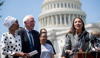 Representative Alexandria Ocasio-Cortezspeaks alongside Senator Bernie Sanders and Representative Ilhan Omar in Washington, DC, June 2019.