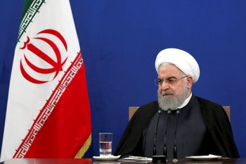 Iranian President Hassan Rohani gives a press conference, Tehran, October 14, 2019.