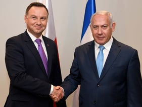 Polish President Anderzej Duda, left, with Prime Minister Benjamin Netanyahu, at the United Nations in 2018.