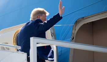 Donald Trump boards Air Force One prior to departure from John F. Kennedy International Airport in New York, September 26, 2019.