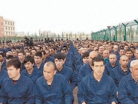 Inmates at a Chinese reeducation camp.