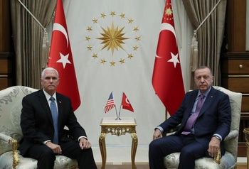 Recep Tayyip Erdogan, right, before talks with Mike Pence, left, Ankara, Turkey, October 17, 2019