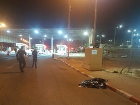 Scene of shooting death of Palestinian suspected of attempted stabbing attack at Te'enim checkpoint, West Bank, October 18, 2019.