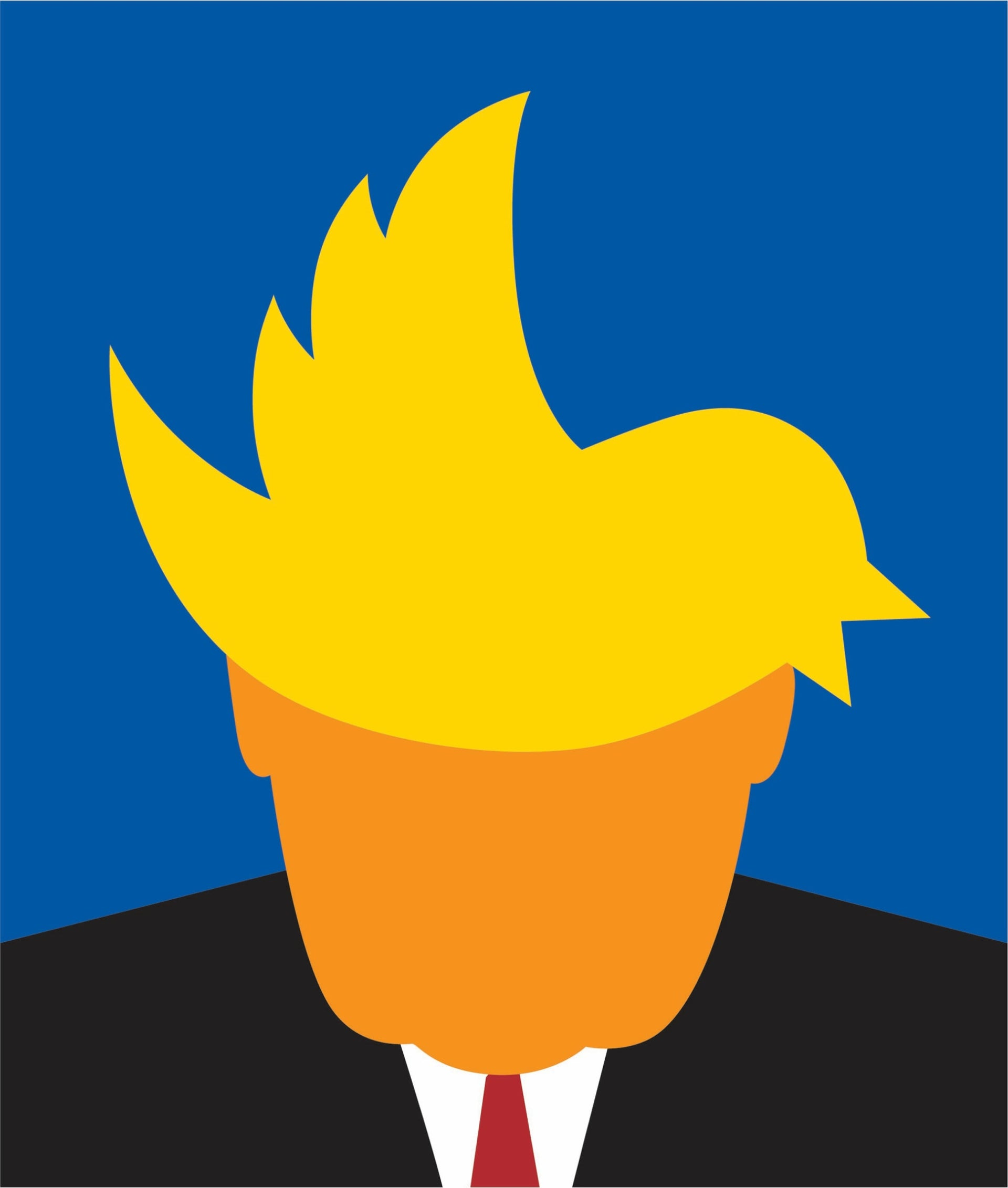 A Noma Bar illustration of U.S. President Donald Trump sporting a dovish haircut for a Politico report on Trump and the media, May/June 2017