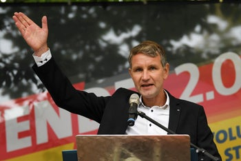Bjoern Hoecke, AfD party leader and top candidate for Thuringia, gestures as he speaks during an election campaign rally in Moedlareuth, Germany, October 3, 2019.