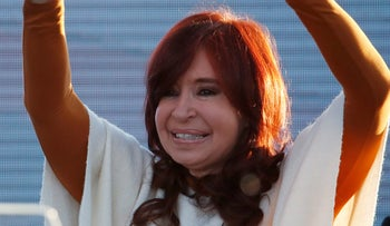 Argentina's former President Cristina Fernandez de Kirchner greets supporters at a campaign rally in Santa Rosa, Argentina, October 17, 2019.