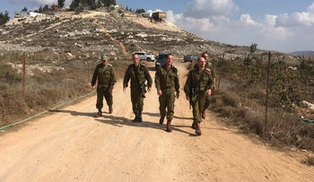 Senior Israeli Defense Forces officers visit Yitzhar to assess the situation, October 20, 2019.