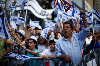 Pro-Israel supporters at a rally in Times Square, New York, July 2014.