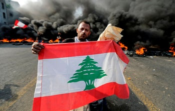 Lebanese demonstrators during a protest against dire economic conditions, Beirut, October 18, 2019