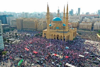 Lebanese protesters rallying in downtown Beirut, October 20, 2019.