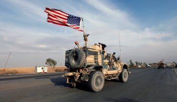 A convoy of U.S. vehicles is seen after withdrawing from northern Syria, in Erbil, Iraq October 21, 2019. A convoy of U.S. vehicles is seen after withdrawing from northern Syria, in Erbil, Iraq October 21, 2019.