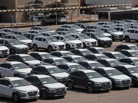Imported cars at the Eilat port, August 8, 2019.