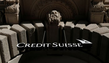 The logo of Swiss bank Credit Suisse is seen at its headquarters at the Paradeplatz square in Zurich, Switzerland, October 1, 2019.