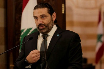 Lebanese Prime Minister Saad Hariri speaks during an address to the nation, in Beirut, Lebanon, October 18, 2019.