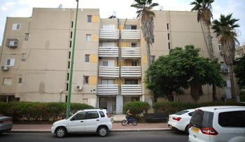 The building in which the mother and her partner live, in Ashkelon, Israel.