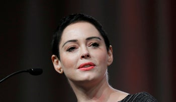 Actress Rose McGowan speaks at the inaugural Women's Convention in Detroit, October 27, 2017.