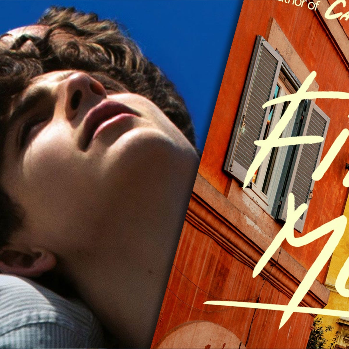 Timothée Chalamet and Armie Hammer in 'Call Me by Your Name,' left, and the cover of Aciman's new book 'Find Me.'