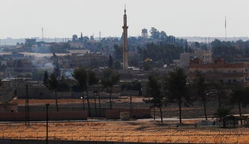 A view of the town of Tal Abyad, Syria, October 23, 2019.