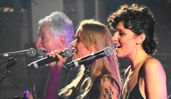 Shay Tochner, left, Gabriella Lewis and Mary Johanna performing in Kfar Sava.