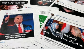 A November 1, 2017 photo showing Some Facebook and Instagram ads linked to a Russian effort to disrupt the American political process, released by members of the U.S. House Intelligence committee.