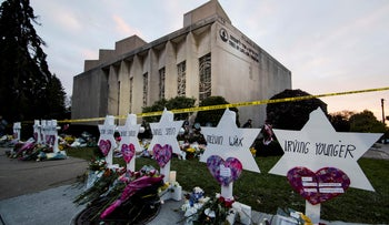 A memorial stands outside the Tree of Life Synagogue in the aftermath of a deadly shooting in Pittsburgh on October 29, 2018.