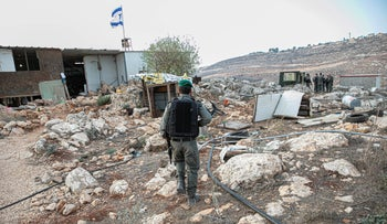 Border police at the outpost of Kumi Ori, near Yitzhar, in the West Bank, October 2019.