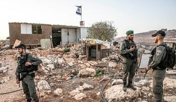 Israeli security forces in the settlement outpost of Kumi Ori, October 22, 2019