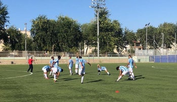 Inter Aliyah soccer team warming up in Tel Aviv, October 10, 2018