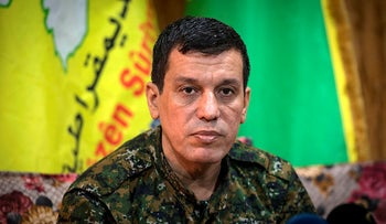 Mazloum Kobani, commander-in-chief of the Syrian Democratic Forces (SDF), gives a press conference near the northeastern Syrian Hassakeh province on October 24, 2019.