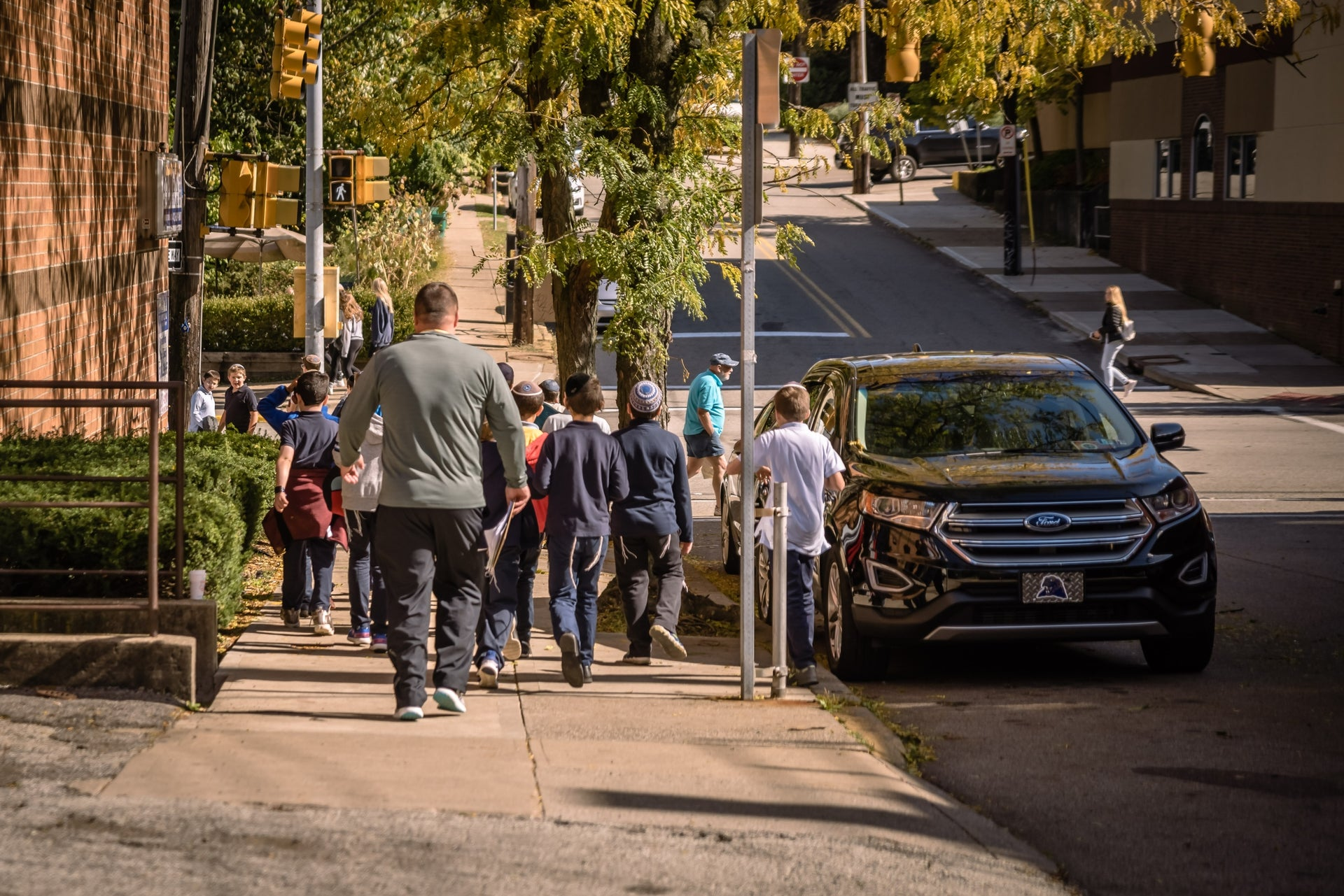 Children in the neighborhood of Squirrel Hill, Pittsburgh, October 23, 2019
