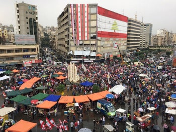 Demonstrators gather during ongoing anti-government protests in Tripoli, Lebanon October 24, 2019.