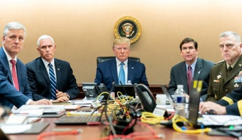 Donald Trump watching in the Situation Room as U.S. Special Operations forces close in on ISIS leader Abu Bakr al-Baghdadi, October 27, 2019.