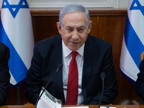 Prime Minister Netanyahu at a cabinet meeting.