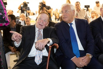 Sheldon Adelson and David Friedman at the opening of Ariel University's medical school on October 27, 2019.