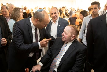 Naftali Bennett and Sheldon Adelson at the opening of Ariel University's medical school on October 27, 2019.