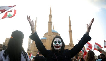 A protest in Lebanon featuring a local Joker