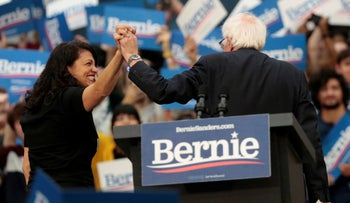 U.S. Rep Rashida Tlaib and Democratic 2020 U.S. presidential candidate Senator Bernie Sanders during a campaign rally in Detroit, Michigan, October 27, 2019.