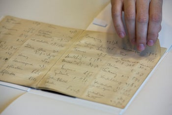 File photo: a library official shows celebrated author Franz Kafka's Hebrew vocabulary notebook at Israel's National Library in Jerusalem, October 5, 2014.