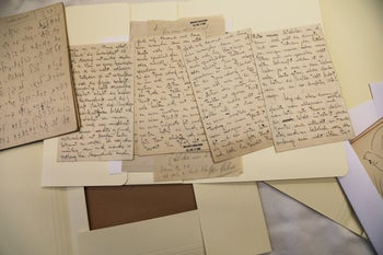 Documents, part of a collection of Franz Kafka writings in Hebrew are displayed at the National Library of Israel in Jerusalem, August 7, 2019.