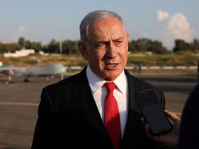 Prime Minister Benjamin Netanyahu delivers a statement to the media after reviewing an exhibition by the Israeli Air Force at the Palmachim Air Force Base, October 27, 2019.