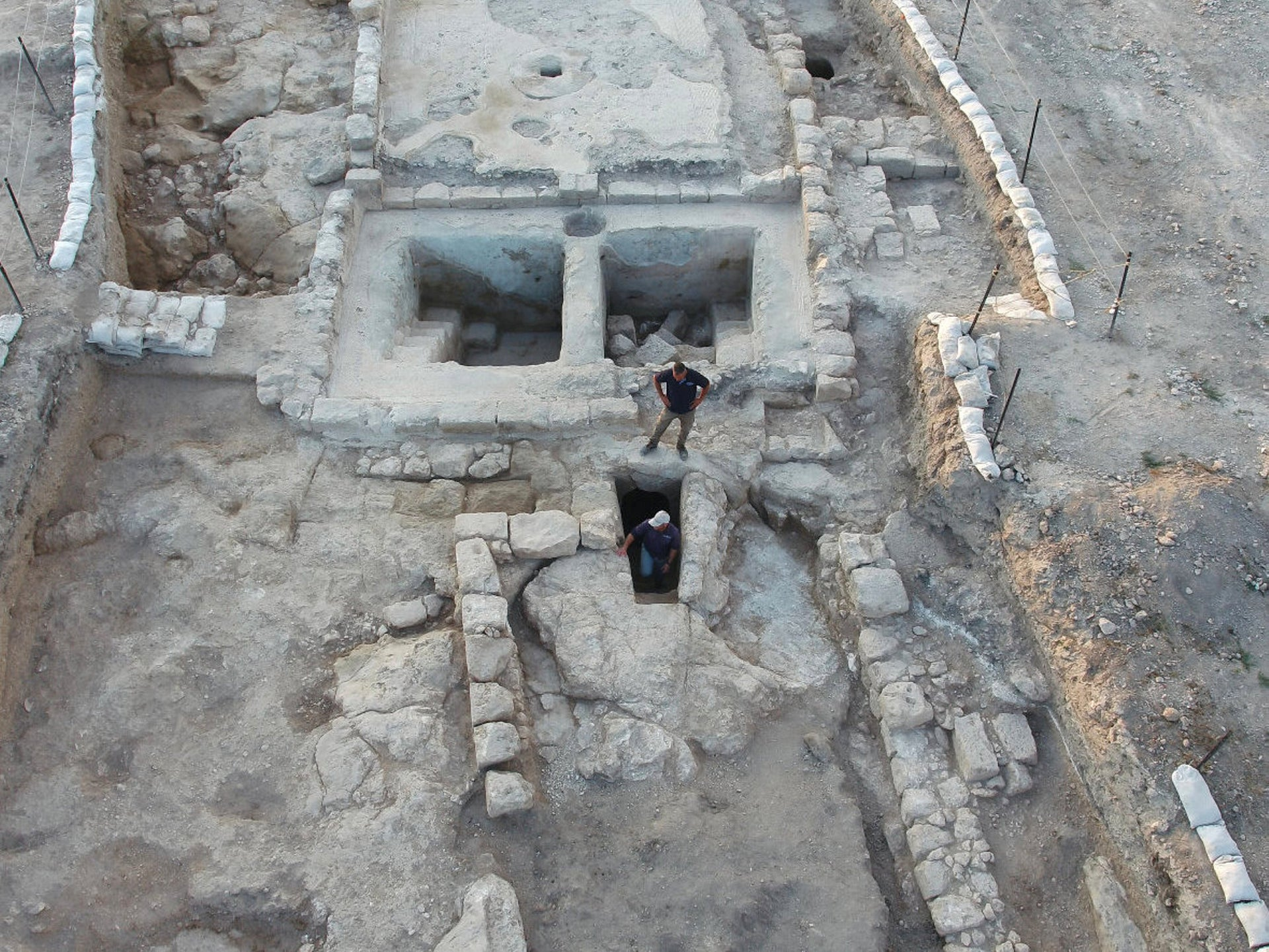 Aerial view of the winepresses and the adjacent ritual bath at Ancient Usha