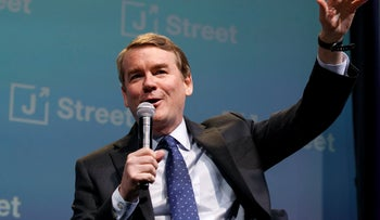 Democratic presidential candidate Sen. Michael Bennet speaking at the J Street National Conference in Washington, October 28, 2019.