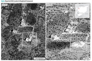 Side-by-side comparison of the al-Baghdadi compound before and after the U.S. raid, October 30, 2019