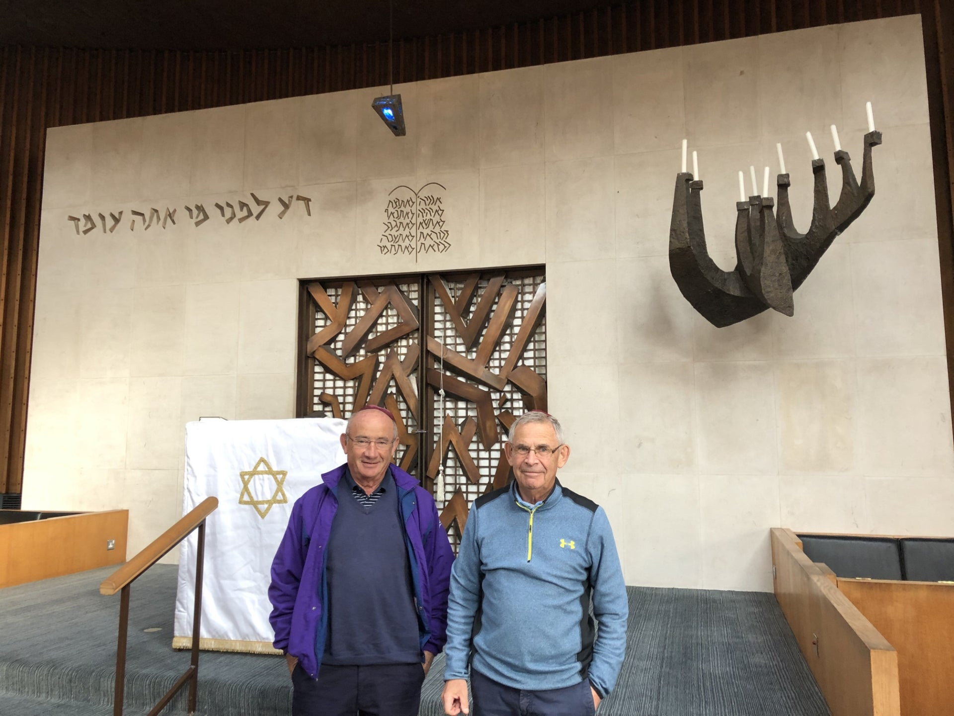 Michael Black, left, and Tony Black in Belfast Synagogue, October 8, 2019.