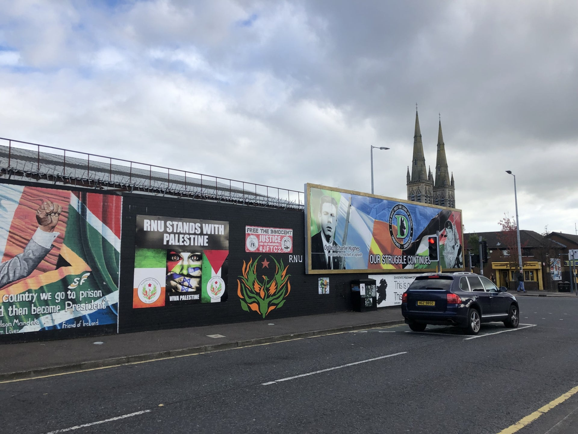 Pro-Palestinian murals on the International Wall, corner of Falls Road and Northumberland Street, West Belfast.