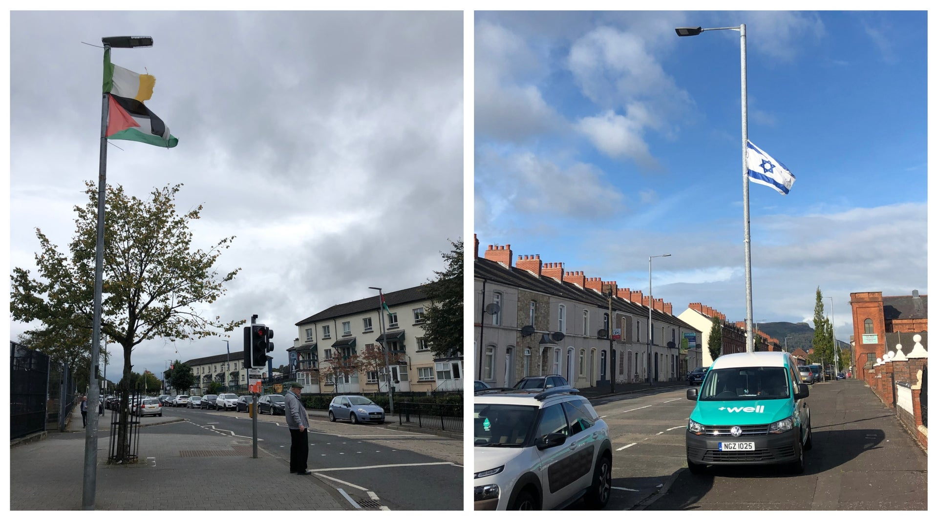 Palestinian and Irish flags flying from lampposts in the Bogside neigborhood of Derry, left, and an Israeli flag in a unionist district of West Belfast.