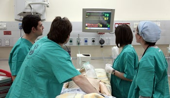 Israeli medical students simulate resuscitation at the Sheba Medical Center, Tel Hashomer.