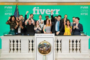 Members of the Fiverr Management at the stock exchange opening on Wall Street, New York.