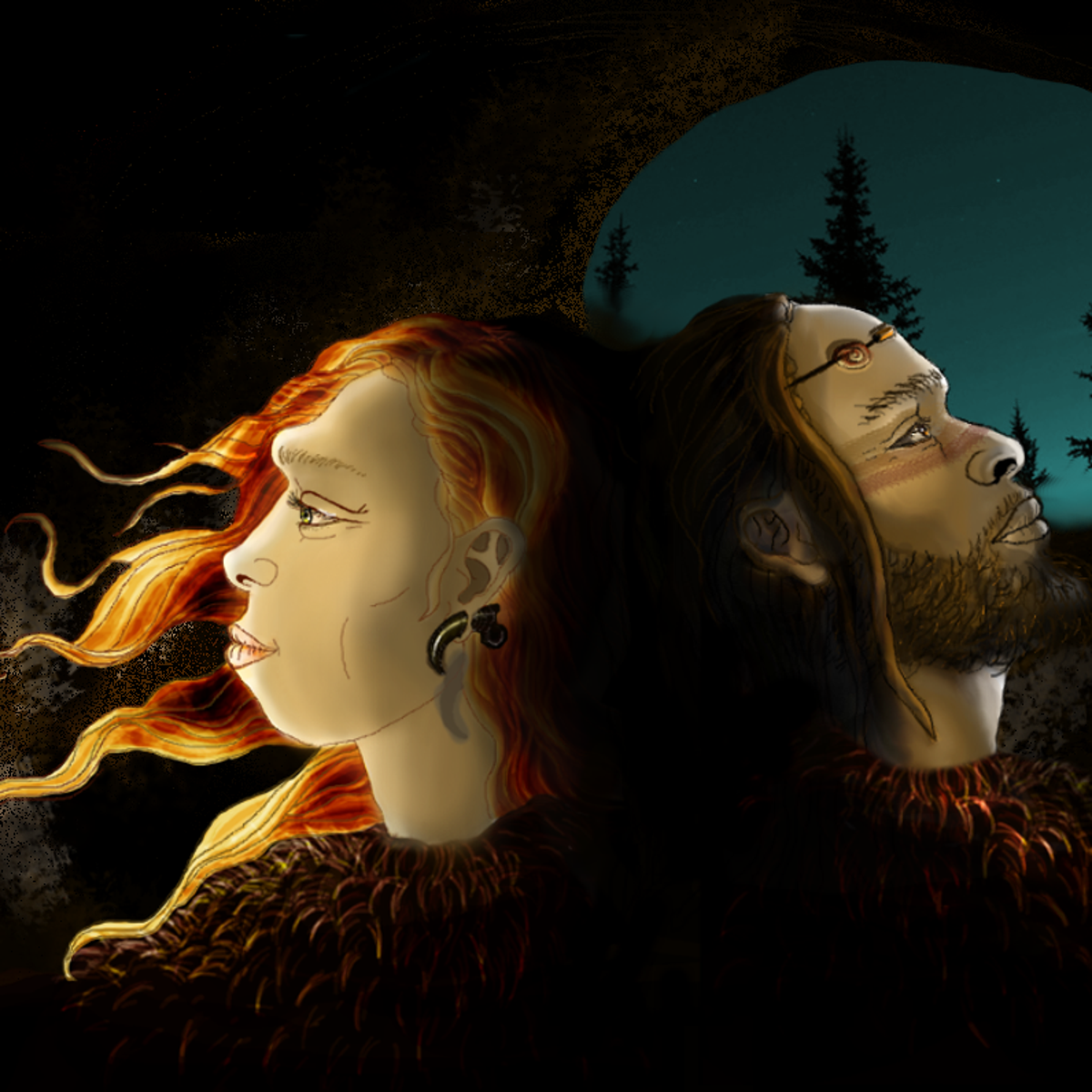 Idealized reconstruction of Neanderthals (L) and Sapiens, the two human populations that inhabited Cova Foradada, wearing personal ornaments