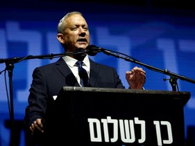 Benny Gantz, head of Blue and White party, speaks during a rally commemorating the 24th anniversary of the assassination of Israeli Prime Minister Yitzhak Rabin, in Tel Aviv, Israel November 2, 2019.
